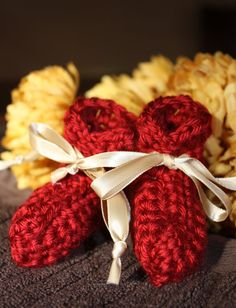 Red Fall Preemie Baby Booties  Crocheted Baby by ImagineThatBaby