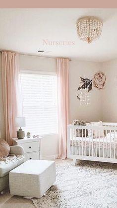 Baby Nursery Decor, Baby Bedroom, Baby Boy Rooms, Baby Decor, Baby Cribs, Nursery Room, Baby Room Ideas For Girls, Blush Nursery, Curtains In Nursery