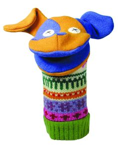 turn sleeves of damaged sweaters into fun puppets