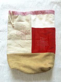 リネンの巾着袋 redの画像2枚目