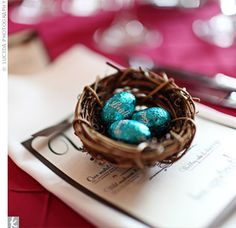 Bird's nest wedding favors...I especially love this favor because your guests can reuse the nest to put pretty soaps in it.