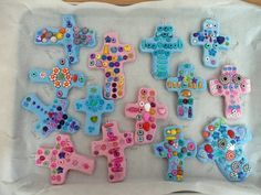 Beaded Salt Dough Crosses...this years Easter gifts for the grams!