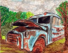 Old Bus Drawing by HomeHeartHearth on Etsy