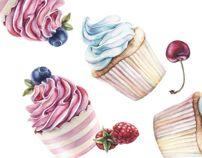 Cupcake Pattern, Katherine Dae, Behance.