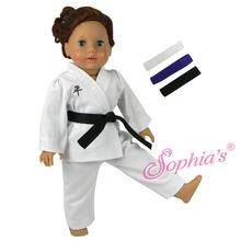 "Karate costume that fits 18"" american girl dolls. Use special discount code PIN10"