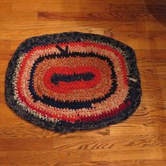 Hand Made Rag Rug Country Shabby Chic Oval Red White Blue Bedroom Bathroom Pet…