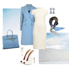 Monika Csutak Ivory Wool-crepe dress with Sky Blue