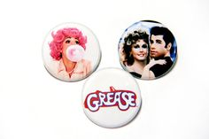 Grease Pin Pack - 1 Button Pack, Sandy and Danny Sandy And Danny, Diy Buttons, Pin And Patches, Grease, Thrifting, Packing, Badges, How To Make, Stuff To Buy