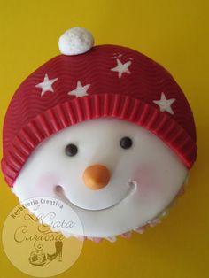 cupcake muñeco de nieve                                                                                                                                                                                 Más