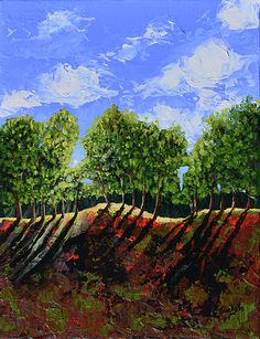 """""""Summer Shadows"""" acrylic abstract landscape painting by Donna """"Blacky"""" Blackhall 11x14in $125"""