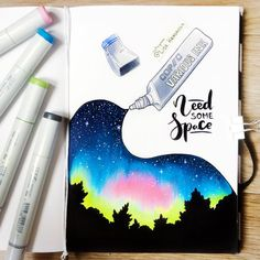 omg I so want to draw this! Space is awesome. Copic Marker Art, Copic Art, Copic Markers, Cool Art Drawings, Art Sketches, Pen Illustration, Make Up Art, Galaxy Art, Art Journal Inspiration