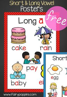 Free short vowel and long vowel posters. Great for helping with spelling and word study. ~ Fairy Poppins