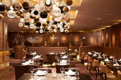 The Studio was commissioned by legendary Thai Restaurant chain, Sukhothai, to create a mural that combined our high gloss gold ceramic tiles with our softer dark walnut timbers. This truly special ins… Thai Design, Id Design, Cafe Design, Store Design, Bar Interior, Interior Decorating, Interior Design, Restaurant Design, Restaurant Bar