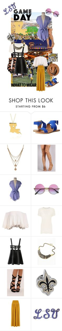"""""""Game Day Louisiana"""" by styledbycierra ❤ liked on Polyvore featuring Mercedes-Benz, Belk & Co., Dolce Vita, Forever 21, ASOS, ZeroUV, WearAll, WithChic and Cufflinks, Inc."""