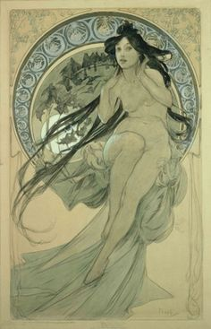 Alphonse Mucha. The Arts: study for 'Music' (1898)