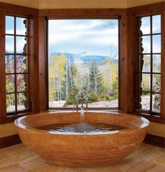 soaking tub...and view.... for one day when we have an  alpine ski chalet.... you know...