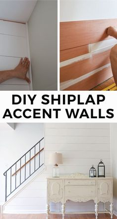 DIY Shiplap Accent Walls for the living room. How to easily and cheaply install faux shiplap walls to create a feature accent wall. A Cozy farmhouse style living room! Click for the easy shiplap tutorial!