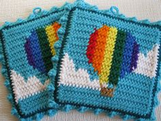 Hot Air Balloon Pot Holders. Balloon pot holders with vertical rainbow stripes