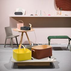 As winners of this year's American Design Honors programme, Studio Gorm from Oregon is presenting an installation of its products and furniture, ranging from minimal baskets with curved corners, to cup holders and a doorstop. New York 2017, Dezeen, Shop Interiors, Commercial Interiors, Color Inspiration, Doorstop, Cup Holders, Shapes, Chair
