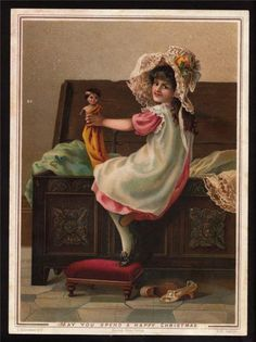 Young Girl with Doll Victorian Postcard