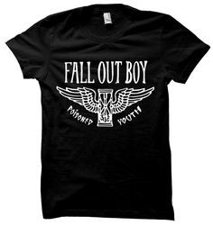 Officially licensed Fall Out Boy t-shirt featuring a Poisoned Youth hourglass…