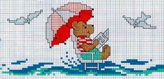 orsetto al mare, onde e gabbiani - punto croce - cross Stitch - Kreuzstich - Punto de Cruz