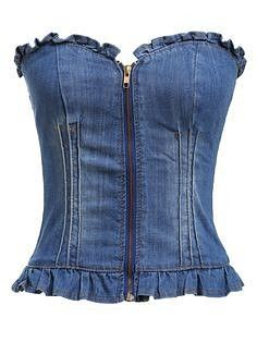 ROMWE offers Strapless Zipper Slim Denim Vest & more to fit Shop Strapless Zipper Slim Denim Vest online. ROMWE offers Strapless Zipper Slim Denim Vest & more to fit your fashionable needs. Denim Corset, Denim And Lace, Denim Top, Denim Shirt, Denim Fashion, Fashion Outfits, Womens Fashion, Fashion Styles, Fashion Hacks