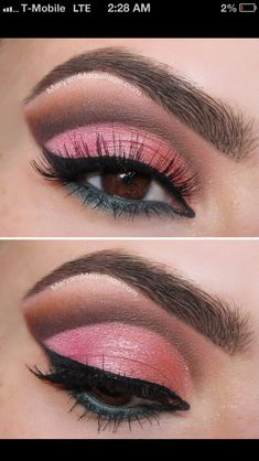 Cut crease pink and brown
