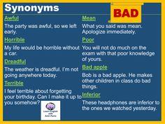 "hellolearnenglishwithantriparto: "" Synonyms - BAD #LearnEnglish @AntriParto """
