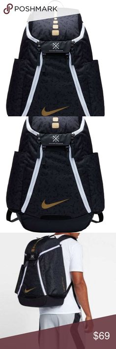 Nike Elite Max Air Team 2.0 Graphic  Backpack- NWT Features large main compartment and multiple organization pockets Wet/dry compartments keep your items separate when needed Interior front panel can hold up to a size 15 shoe Max Air shoulder straps are padded for comfortable carrying options Sternum strap distributes weight and stabilizes your back Nike Quad Zip System provides easy access to your gear Includes side pockets to carry small items or water bottles Densely woven 600D polyester…