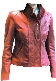 Women Red Leather Golf Jacket Removable Sleeves Sz XS-3XL 12 Colors #ColombianCouture #GolfJacket