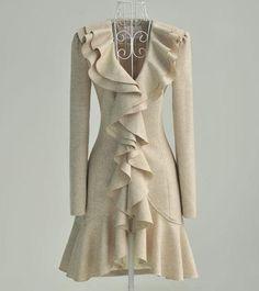 Stylish Falbala long wool   -Trench Coats   Trench Coats_BT (Black,Cream,colored)
