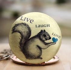 Locket,squirrel,autumn,Fall,Harvest,art, drawing, quote, necklace, locket, squirrel, heart, brass, image, vintage locket