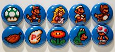 Set of 10 1 Super Mario Bros. 3 Pinback Buttons by 8bitbuttons, $6.50