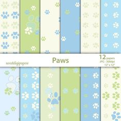 Green paws digital paper, baby scrapbook paper, blue paws background, baby shower by sweetdigipapers on Etsy