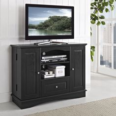 """Walker Edison 42"""" Highboy Style Wood TV Stand Console, Black"""