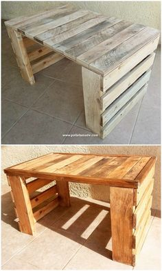 This is every other uniquely designed wood pallet table challenge for you.This is every other uniquely designed wood pallet table challenge for you. The pleasing function about this table task is that# challenge Wooden Pallet Table, Wooden Pallet Projects, Pallet Crafts, Wooden Pallets, Pallet Tables, Table From Pallets, Pallet Furniture Outdoor Table, Pallet Desk, Pallet Benches