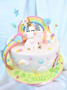 A cute rainbow Cake for a birthday 5th Birthday, Birthday Cakes, How To Make Cake, Special Occasion, Unicorn, Rainbow, Joy, Desserts, Unicorn Party