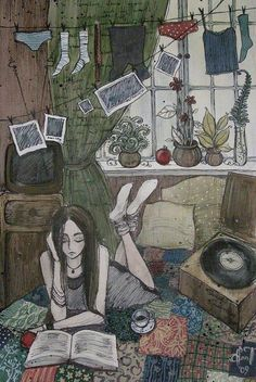 This girl is so cool; she has a record player, she is reading a book, she has a clothes line in her bedroom, she's lying on the floor and she debatably got a cup of tea. There is more, if you have eyes.