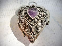 VERY LARGE HEART Locket Pendant Sterling Silver by TnBCdesigns, $55.00