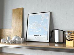 Premium Map Poster of Venice Italy - Modern Ski Map - Unframed - Venice Map Art