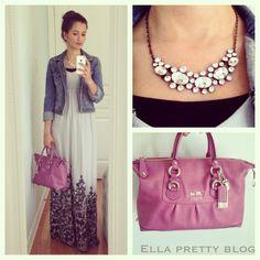 Ella Pretty: Fashion & Beauty Blog. Old Navy Maxi dress, Coach bag.