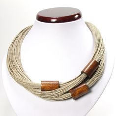 Brown linen jewelry set for women, wooden beaded simple necklace, wooden tubes, wooden linen rustic bracelet, birthday gift for mother Textile Jewelry, Fabric Jewelry, Beaded Jewelry, Jewelry Necklaces, Beaded Necklace, Wooden Necklace, Wooden Jewelry, Leather Jewelry, Wooden Beads