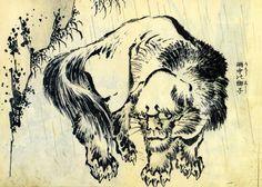 Lion in the rain, Hokusai