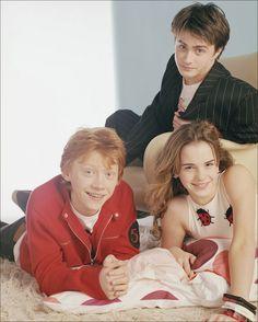 Emma Watson (13), Rupert Grint (15) and Daniel Radcliffe (14)