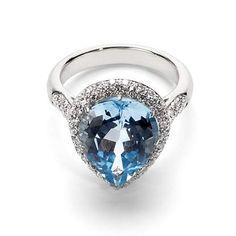 Hollywood Teardrop Blue Topaz & Diamond Ring