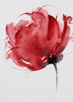 Acquerello originale dipinto polvere rossa e di ColorWatercolor