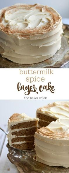 Buttermilk Spice Layer Cake with Brown Sugar Cream Cheese Frosting (Layer Cake) Frosting Recipes, Cupcake Recipes, Baking Recipes, Dessert Recipes, Layer Cake Recipes, Cupcakes, Cupcake Cakes, Just Desserts, Delicious Desserts