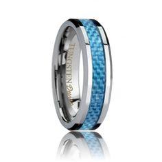 Carrollton - Blue Carbon Fiber Inlay Hand Woven Tungsten Carbide Band