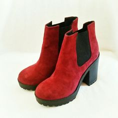 """Divided by H&M boots * Price Negotiable * No Trades *  Burgundy colored faux suede ankle boots from H&M in size 7. Super easy to slip off and on with a 2"""" elastic panel on both sides of the boot. Easy all day wearability due to square chunky rubber heel and platform. Heel is just shy of 4"""" with a tapered 1"""" platform.  Worn only 1X. EUC  { 15 % off bundles of 2 + listings } H&M Shoes Ankle Boots & Booties"""
